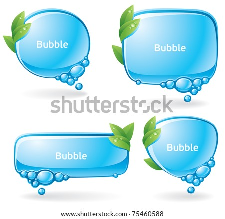Set of speech bubbles formed from water and decorated with green leaves - stock vector