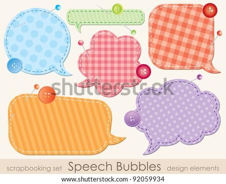 set of speech bubbles, scrapbook design elements - stock vector