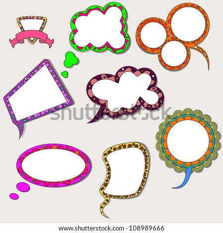 set of speech bubbles, set of 8 pieces - stock vector