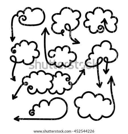 Set of speech bubbles with arrows. Empty cloud citation template. Grunge design element for business card, paper sheet, information, note, message, motivation, comment. Vector illustration. - stock vector