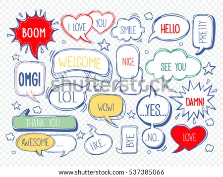 set of speech bubbles with dialog words: Awesome,  Hello, Love, pretty, like, thank you, welcome