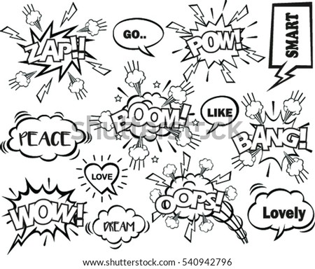 set of speech bubbles with dialog words: boom, bang, ops,wow,dream, smart, go, peace, like