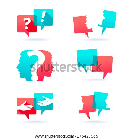Set of speech bubbles with people faces, handshake and question mark  - stock vector