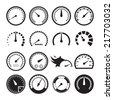 Set of speedometers icons. Vector illustration - stock photo