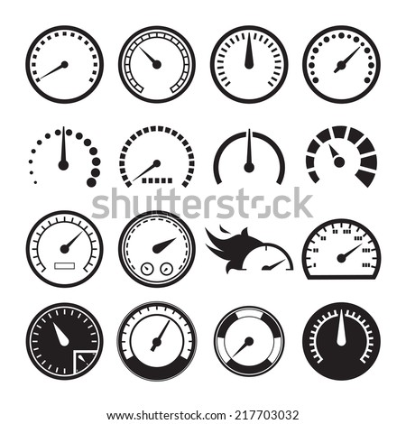 Set of speedometers icons. Vector illustration - stock vector