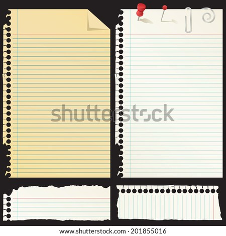 Set of Spiral Notebook Paper Pages with Ripped Edges - stock vector