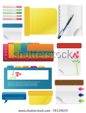 Set Of Spiral Notebooks With Colored Tabs And Lined Pages, With Colorful Pens - stock vector