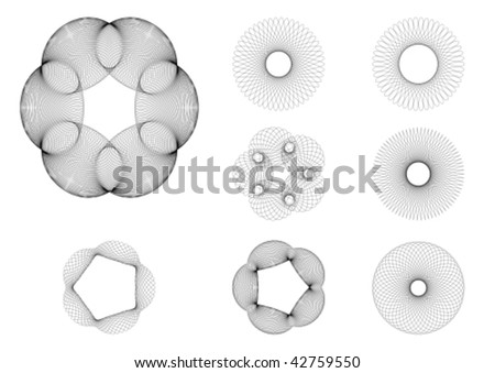 set of 8 spirograph drawings