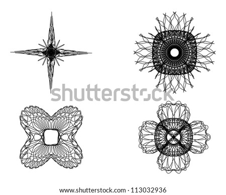 Set of spirograph elements for design on a white background - stock vector