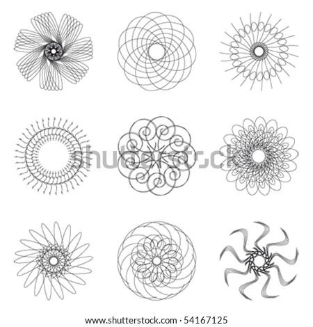Set of spirograph for design (9 elements) - vector illustration - stock vector