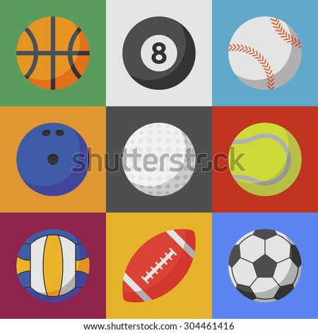 set of sport ball icons. flat style vector illustration. basketball, billiard, baseball, bowling, golf, tennis, volleyball, football, soccer - stock vector