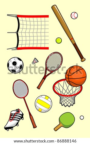Set of Sport Balls and Equipment - stock vector