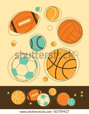 Set of Sport Balls in Retro-Styled - stock vector