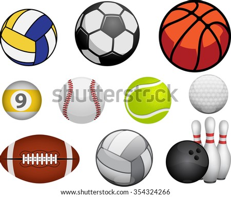 Set of sport balls isolated on white background - stock vector