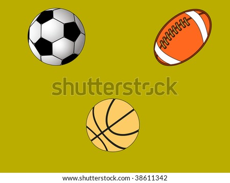 set of sport balls of soccer american football and basketball vector