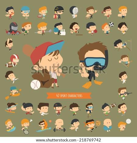 Set of 42 Sport characters , eps10 vector format - stock vector