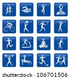 Set of sport, fitness, massage blue web buttons. Vector illustration. - stock vector