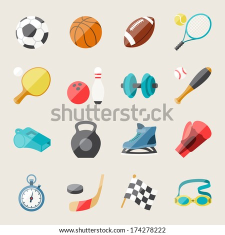 Set of sport icons in flat design style. - stock vector