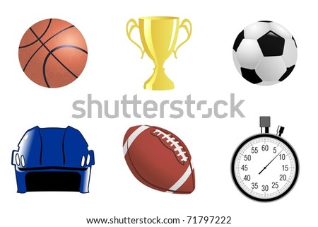 Set of sport objects. Vector - stock vector