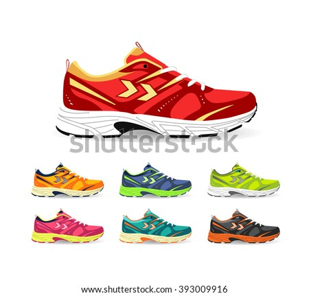 Set of sport shoes. Sneaker. Shoes for running. vector - stock vector