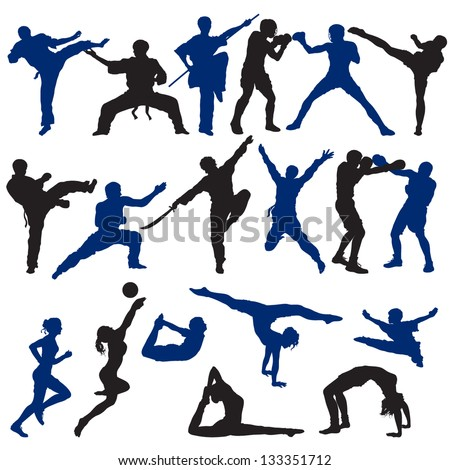 Set of Sport Silhouettes - stock vector