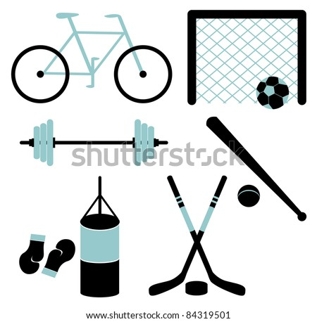 Set of sporting equipment isolated - stock vector