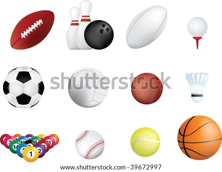 set of sports balls icons on white background