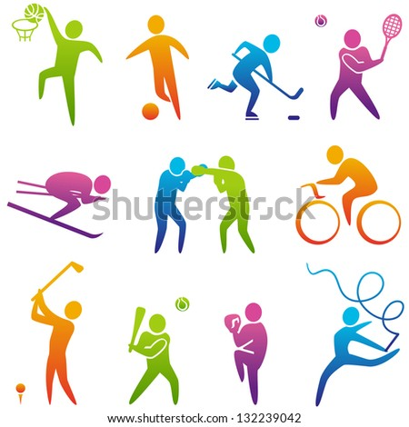 Set of sports icons: basketball, soccer, hockey, tennis, skiing, boxing, wrestling, cycling, golf, baseball, gymnastics. Vector illustration - stock vector