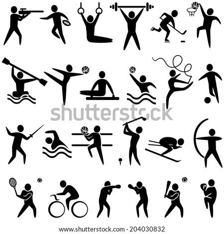 Set of sports icons black color: basketball, soccer, hockey, tennis, skiing, boxing, cycling, golf, baseball, gymnastics, shooting, rugby, gymnastics, American football, power lifting, kayaking, - stock vector