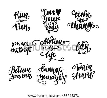 Set sports lettering quote labels emblems stock vector - Citation pour se motiver ...