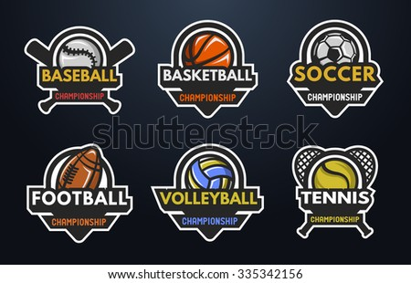 Set of sports logos Baseball Basketball Football Volleyball Tennis on a dark background. - stock vector