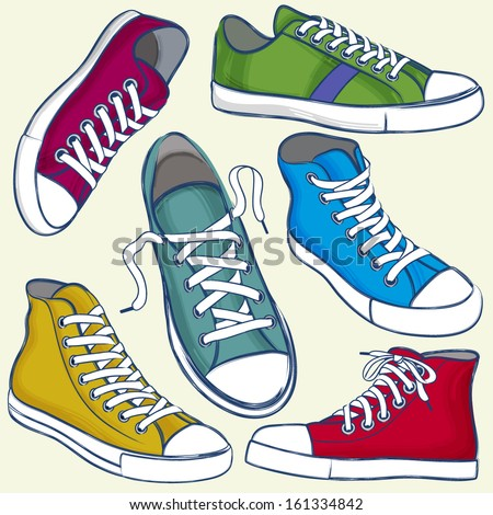 Set of Sports Shoes in Grunge Style. - stock vector