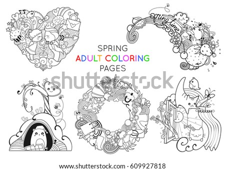 Set Spring Adult Coloring Pages Template Stock Vector 609927818 ...