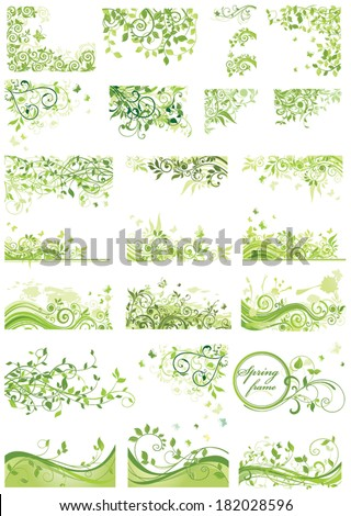 Set of spring green design - stock vector