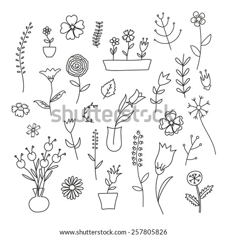 Set of spring plants and flowers, hand-drawn, black contour on white background - stock vector