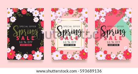 Set of Spring sale background banner poster with beautiful colorful flower. Vector illustration.