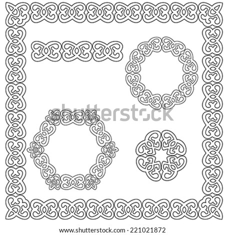 set of square and circular ornament with ancient elements, illustration, vector  - stock vector