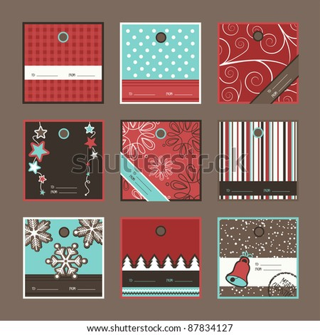 Set of square Christmas gift tags, vector - stock vector