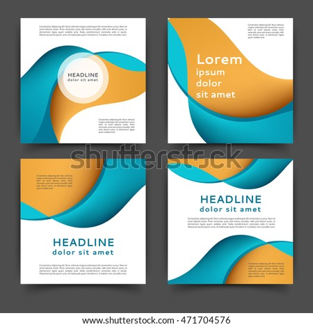 Set of square color brochures, book template with abstract lines and waves