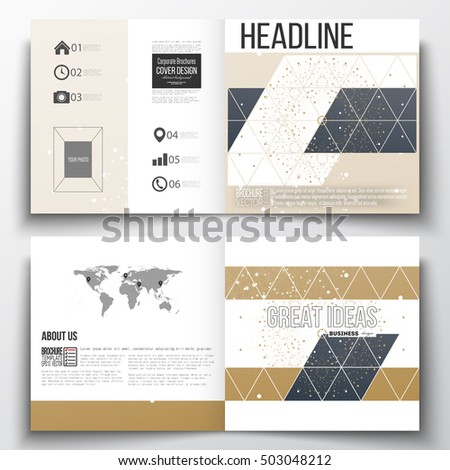 Set of square design brochure template. Abstract polygonal low poly backdrop with connecting dots and lines, golden background, connection structure. Digital or science vector