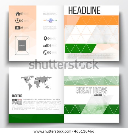 Set of square design brochure template. Background for Happy Indian Independence Day celebration with Ashoka wheel and national flag colors, vector illustration.