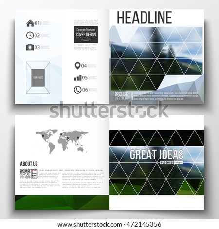 Set of square design brochure template. Colorful polygonal backdrop, blurred natural background, modern stylish triangle vector texture