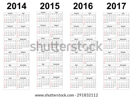 Set of square european 2014, 2015, 2016, 2017 year vector calendars. - stock vector
