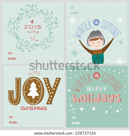 Set of square greeting cards with Christmas and New Year Calligraphic And Typographic Background. Greeting stylish illustration of winter elements. Good for design, cards or posters. Scrapbooking. - stock vector
