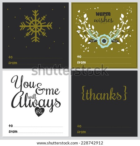 Set of square greeting cards with Christmas and New Year Calligraphic And Typographic Background. Greeting stylish illustration of winter wishes. Good for design, cards or posters.  - stock vector