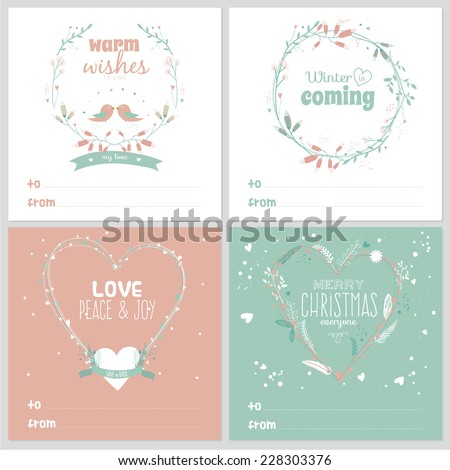 Set of square greeting cards with Christmas and New Year greeting romantic flower labels, ribbons, hearts, wreaths, laurel. Good for winter cards or posters. Wrapping. Brown paper. Scrapbooking - stock vector