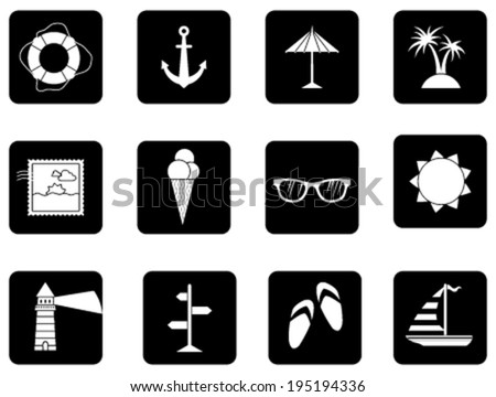 Set of 12 square icons. Black and white sea summer icons isolated on white background. - stock vector