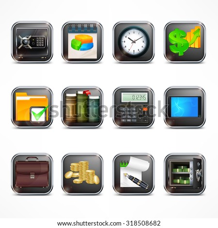 Set of square icons for business info graphic, vector illustration - stock vector