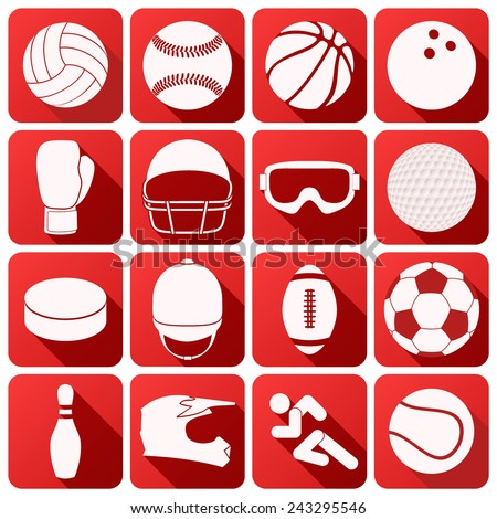 Set of square sport icons with long shadows in flat design. Vector Illustration. - stock vector