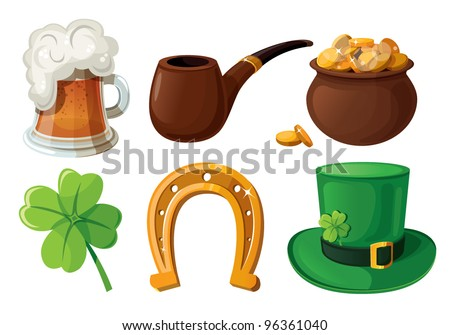 Set of St. Patrick's Day icons. Isolated on white background. - stock vector